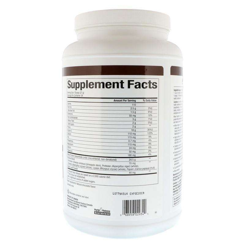 Natural Factors - Whey Factors, Grass Fed Whey Protein, Natural Double Chocolate Flavor - 2 Lbs (907 G) - AM VITAMINS