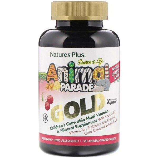 Natures Plus - Source of Life Animal Parade Gold, Children's Chewable Multi-Vitamin & Mineral Supplement, Natural Cherry Flavor - 120 Animal-Shaped Tablets - AM VITAMINS