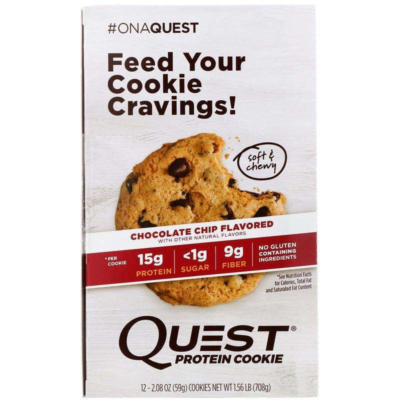 Quest Nutrition - Protein Cookie, Chocolate Chip - 12 Pack (59 g) Each - AM VITAMINS