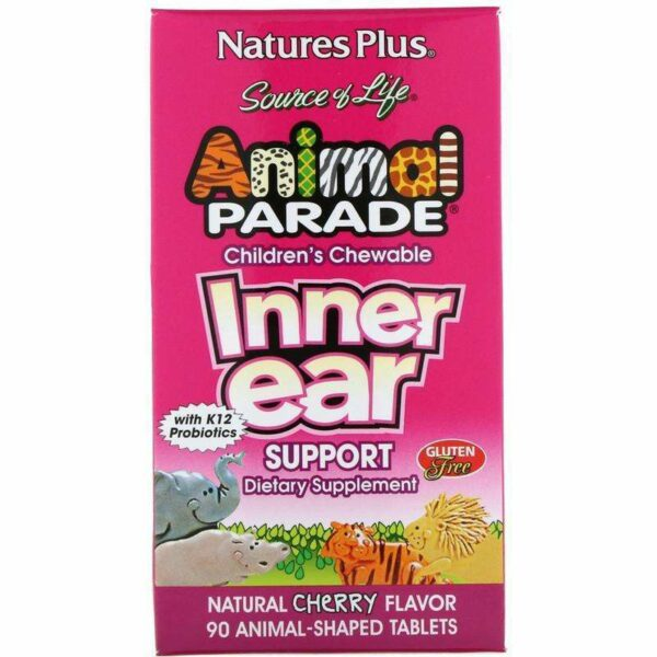 Natures Plus - Source of Life, Animal Parade, Children's Chewable Inner Ear Support, Natural Cherry Flavor - 90 Animals-Shaped Tablets - AM VITAMINS