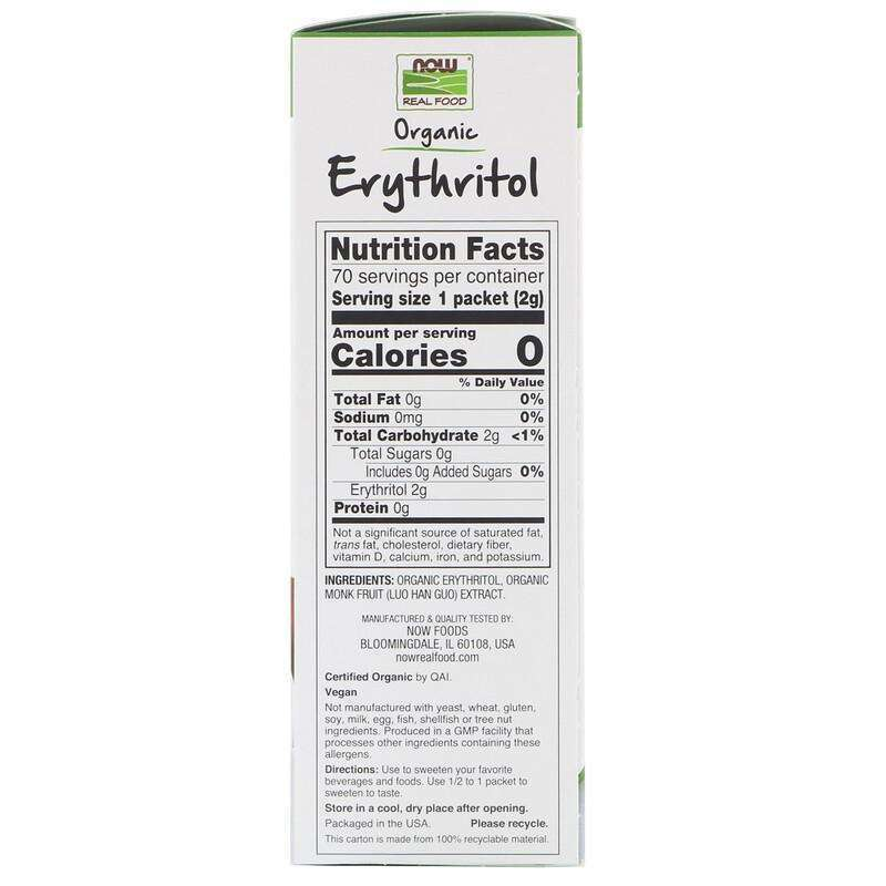 Now Foods - Real Food, Organic Erythritol with Monk Fruit - 70 Packets - AM VITAMINS