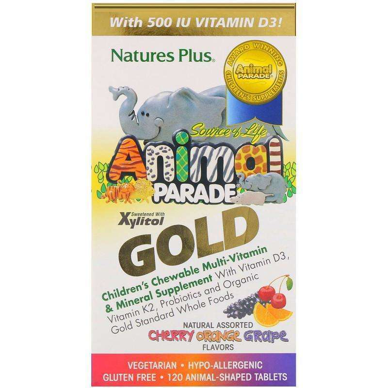 Natures Plus - Source of Life Animal Parade Gold, Children's Chewable Multi-Vitamin & Mineral Supplement, Natural Assorted Flavors - 120 Animal-Shaped Tablets - AM VITAMINS