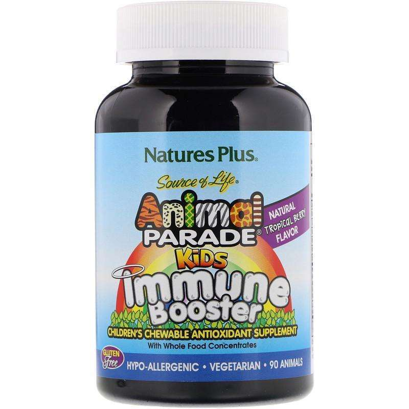 Natures Plus - Source of Life, Animal Parade, Kids Immune Booster, Natural Tropical Berry Flavor - 90 Animals - AM VITAMINS