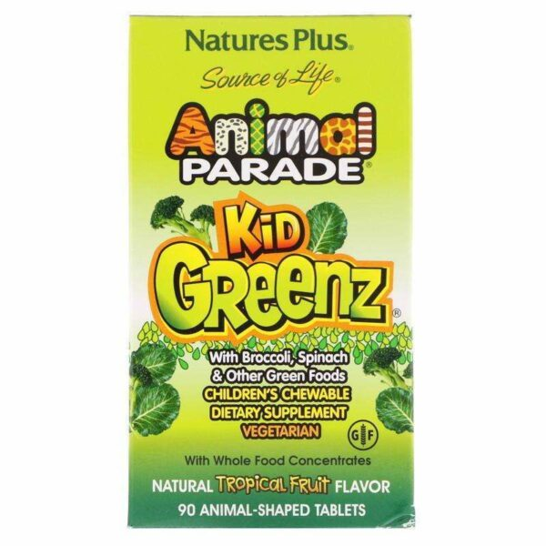 Natures Plus - Source of Life, Animal Parade, Kid Greenz with Broccoli, Spinach, Natural Tropical Fruit Flavor - 90 Animal-Shaped Tablets - AM VITAMINS
