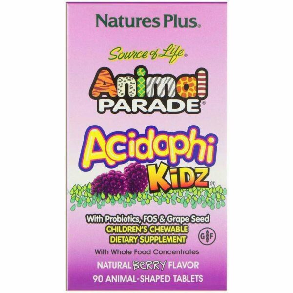 Natures Plus - Source of Life Animal Parade, AcidophiKidz, Children's Chewable, Natural Berry - 90 Animal-Shaped Tablets - AM VITAMINS