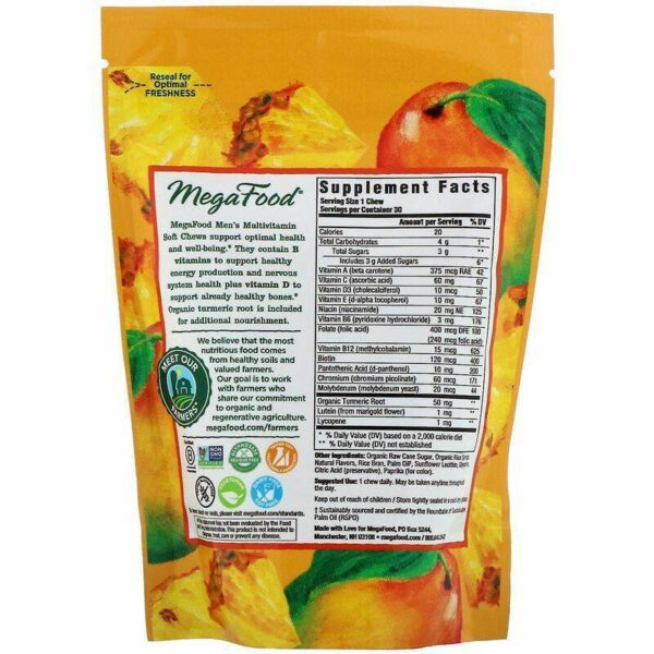 Megafood - Men's Multivitamin Soft Chews, Tropical Flavor, 30 Individually Wrapped Soft Chews - AM VITAMINS