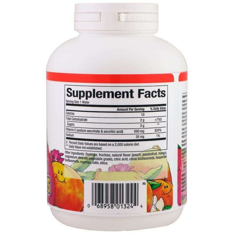 Natural Factors - 100% Natural Fruit Chew C, Peach, Passionfruit And Mango Flavor, 500 Mg - 90 Chewable Wafers - AM VITAMINS