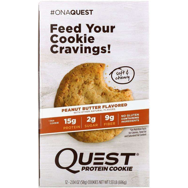 Quest Nutrition - Protein Cookie, Peanut Butter - 12 Pack (58 g) Each - AM VITAMINS