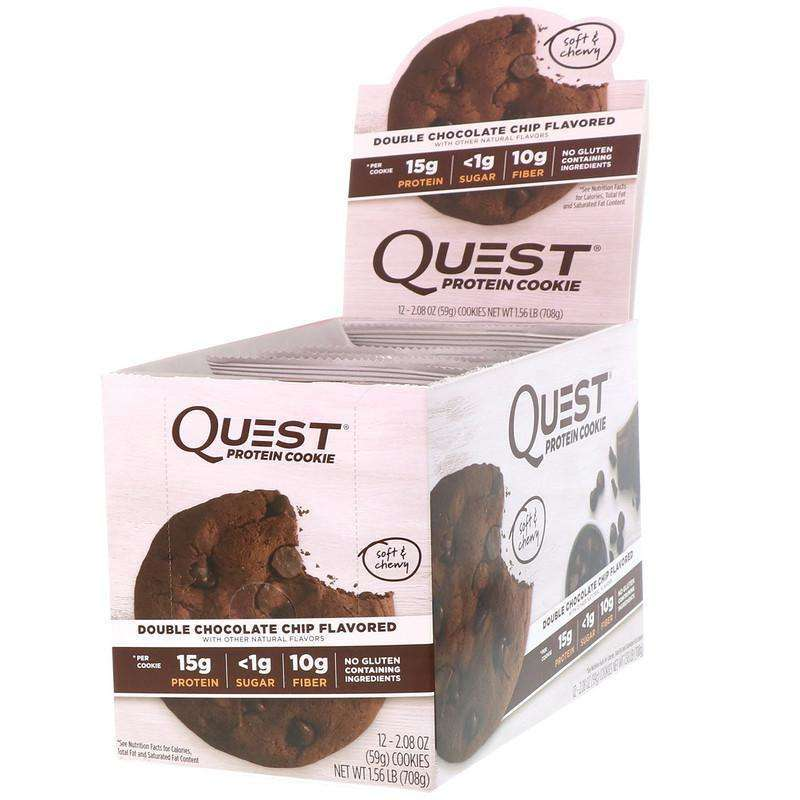 Quest Nutrition - Protein Cookie, Double Chocolate Chip - 12 Pack (59 g) Each - AM VITAMINS