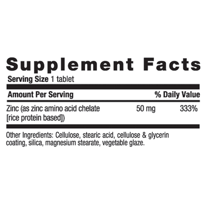 Country Life - Chelated Zinc, 50 mg - 100 Tablets - AM VITAMINS