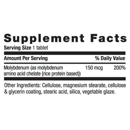 Country Life - Chelated Molybdenum, 150 mcg - 100 Tablets - AM VITAMINS