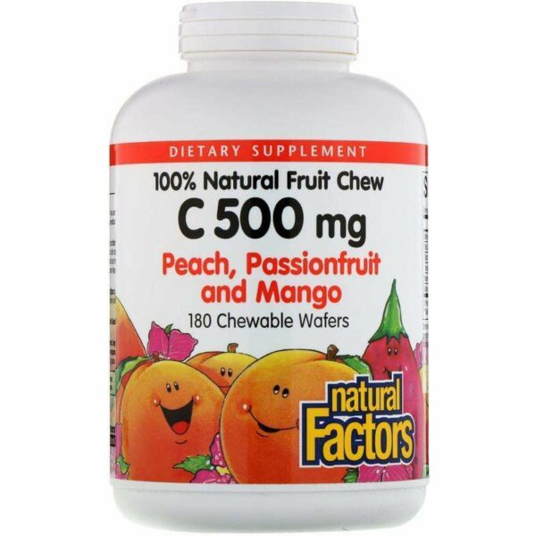 Natural Factors - 100% Natural Fruit Chew C, Peach, Passionfruit And Mango Flavor, 500 Mg - 180 Chewable Wafers - AM VITAMINS