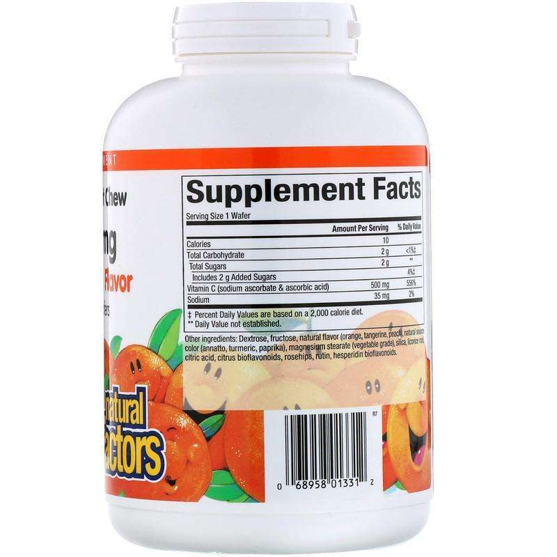Natural Factors - 100% Natural Fruit Chew C, Tangy Orange Flavor, 500 mg - 180 Chewable Wafers - AM VITAMINS