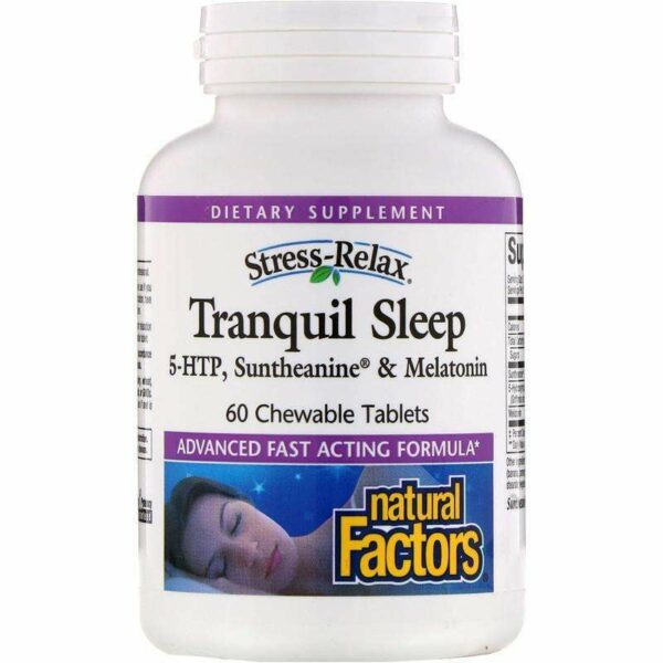 Natural Factors - Stress-Relax, Tranquil Sleep - 60 Chewable Tablets - AM VITAMINS