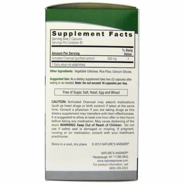 Nature's Answers - Charcoal (Activated) - 90  V-Cap - AM VITAMINS