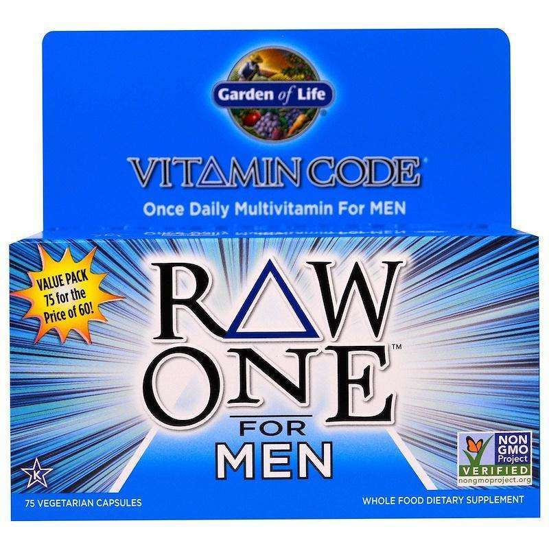 Garden Of Life - Vitamin Code, Raw One, Once Daily Raw Multi-Vitamin For Men, 75 Veggie CAPSULES - AM VITAMINS
