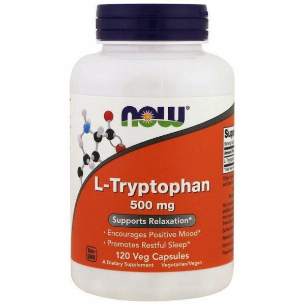 Now Foods - L-TRYPTOPHAN 500 MG - 120 Veg Capsules - AM VITAMINS