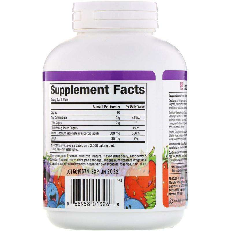 Natural Factors - 100% Natural Fruit Chew C, Blueberry, Raspberry And Boysenberry, 500 Mg - 90 Chewable Wafers - AM VITAMINS