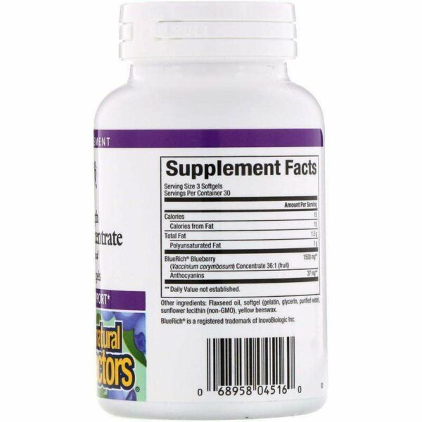 Natural Factors - BlueRich, Super Strength, Blueberry Concentrate, 500 Mg - 90 Softgels - AM VITAMINS