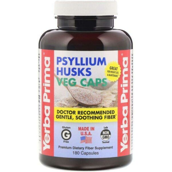 Psyllium Husks Fiber Suppliment - 180 Capsules - Yerba Prima - AM VITAMINS