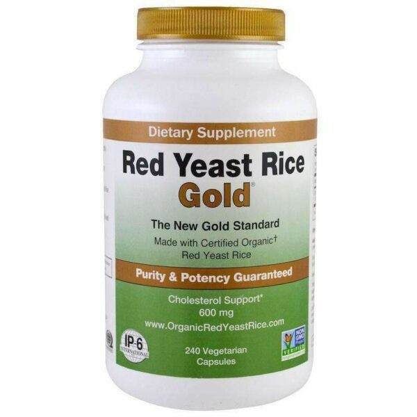 Red Yeast Rice Gold - 240 Vegetarian Capsules - IP-6 International - AM VITAMINS