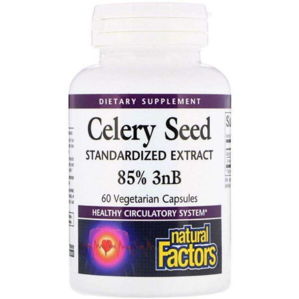 Natural Factors - Celery Seed, Standardized Extract - 60 Vegetarian Capsules - AM VITAMINS