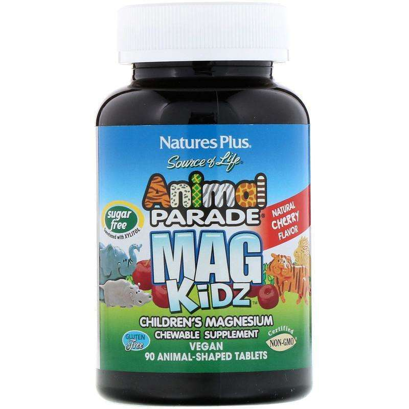 Natures Plus - Animal Parade, MagKidz, Children's Magnesium, Natural Cherry Flavor - 90 Animal-Shaped Tablets - AM VITAMINS