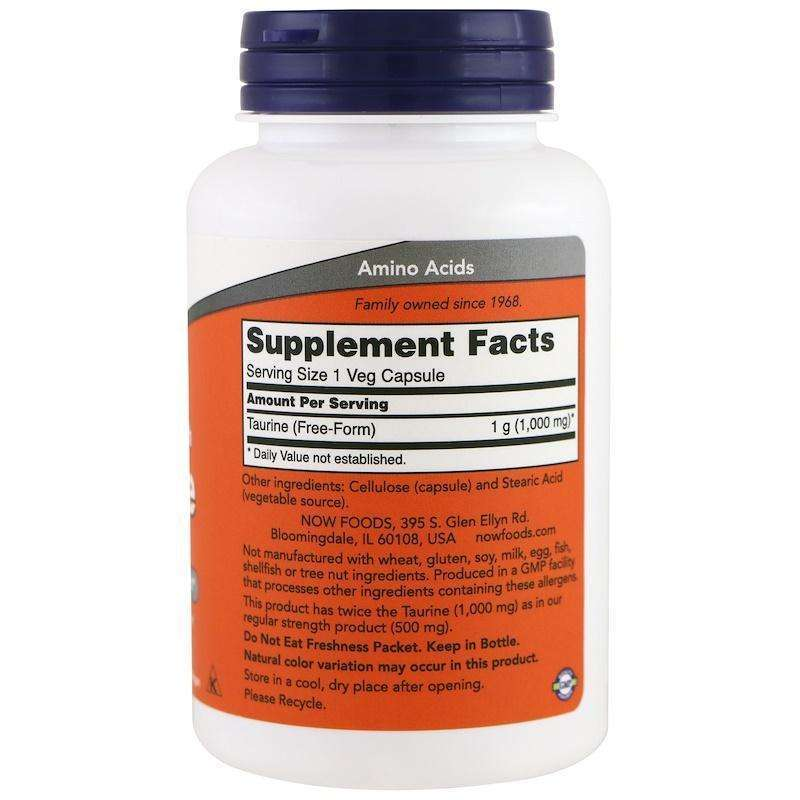 Now Foods - Taurine, Double Strength, 1,000 mg - 100 Veg Capsules - AM VITAMINS