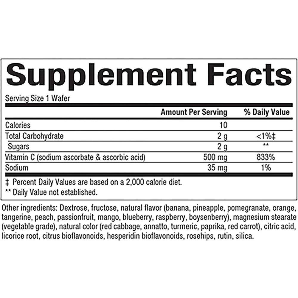 Natural Factors - C 500 mg, Four Mixed Fruit Flavors - 90 Chewable Wafers - AM VITAMINS