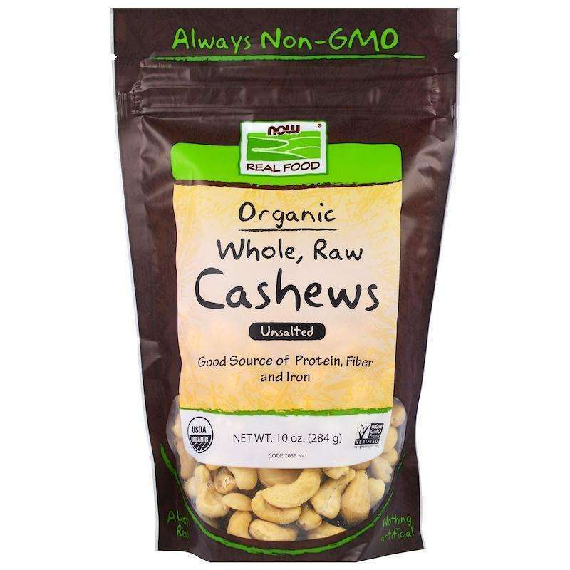 Now Foods - Real Food, Organic, Whole, Raw Cashews, Unsalted - 10 oz (284 g) - AM VITAMINS