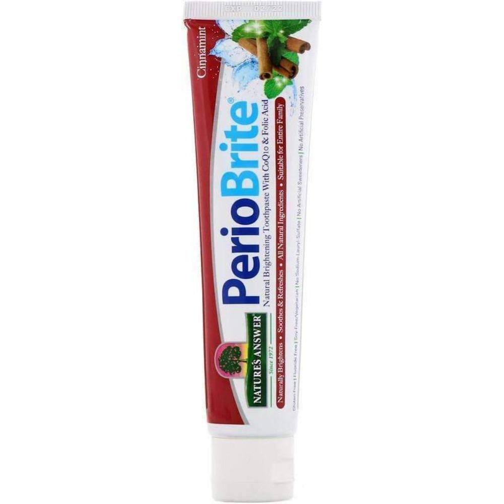 Nature's  Answers - PerioBrite, Natural Brightening Toothpaste with CoQ10 & Folic Acid, Cinnamint, 4 oz (113.4 g) - AM VITAMINS