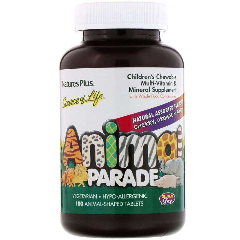 Natures Plus - Animal Parade, Children's Chewable Multi-Vitamin and Mineral, Assorted Flavors - 180 Animal-Shaped Tablets - AM VITAMINS