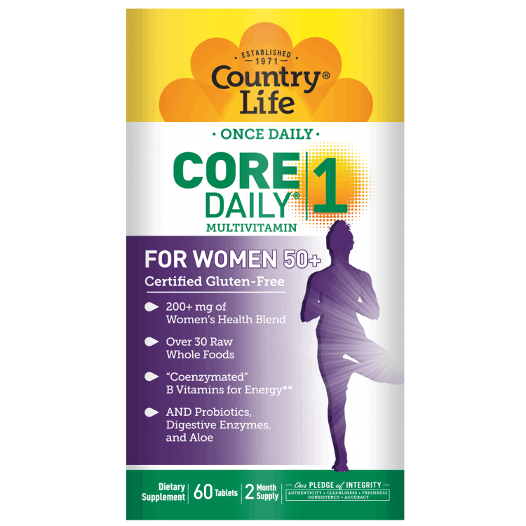 Country Life - Core Daily-1 Multivitamins, Women 50+ - 60 Tablets - AM VITAMINS