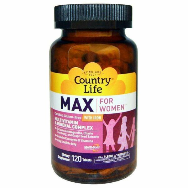 Country Life - Max, for Women, Multivitamin & Mineral Complex, With Iron - 120 Tablets - AM VITAMINS