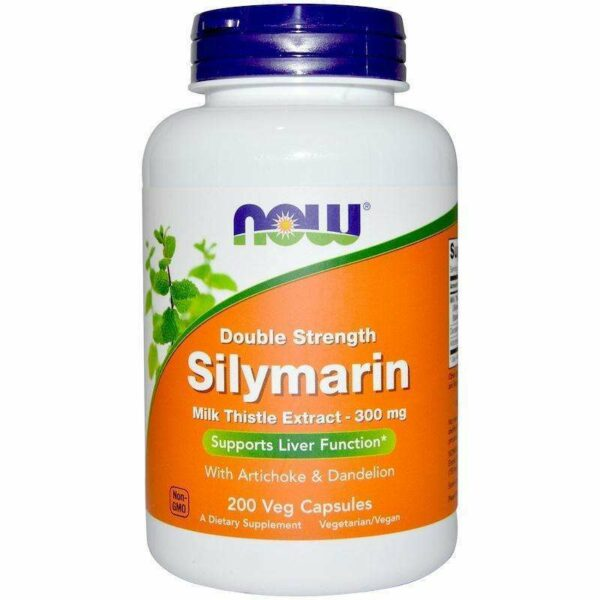 Now Foods - Silymarin, Milk Thistle Extract with Artichoke & Dandelion, Double Strength, 300 mg - 200 Veg Capsules - AM VITAMINS