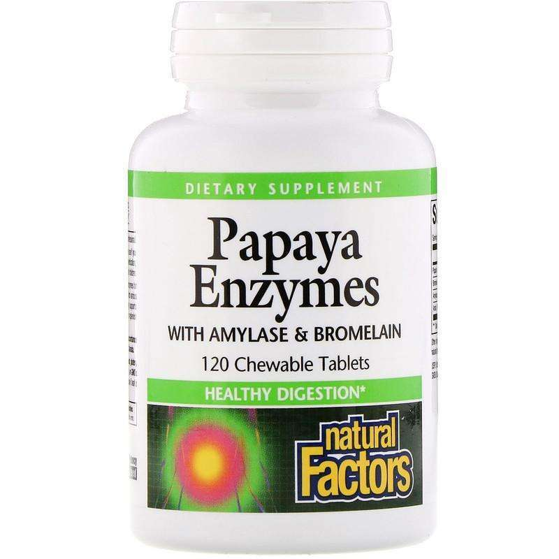 Natural Factors - Papaya Enzymes With Amylase & Bromelain - 120 Chewable Tablets - AM VITAMINS