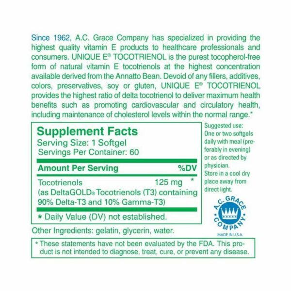 UNIQUE E® Tocotrienols Tocopherol Free - 60 Softgels - A.C. Grace Company - AM VITAMINS