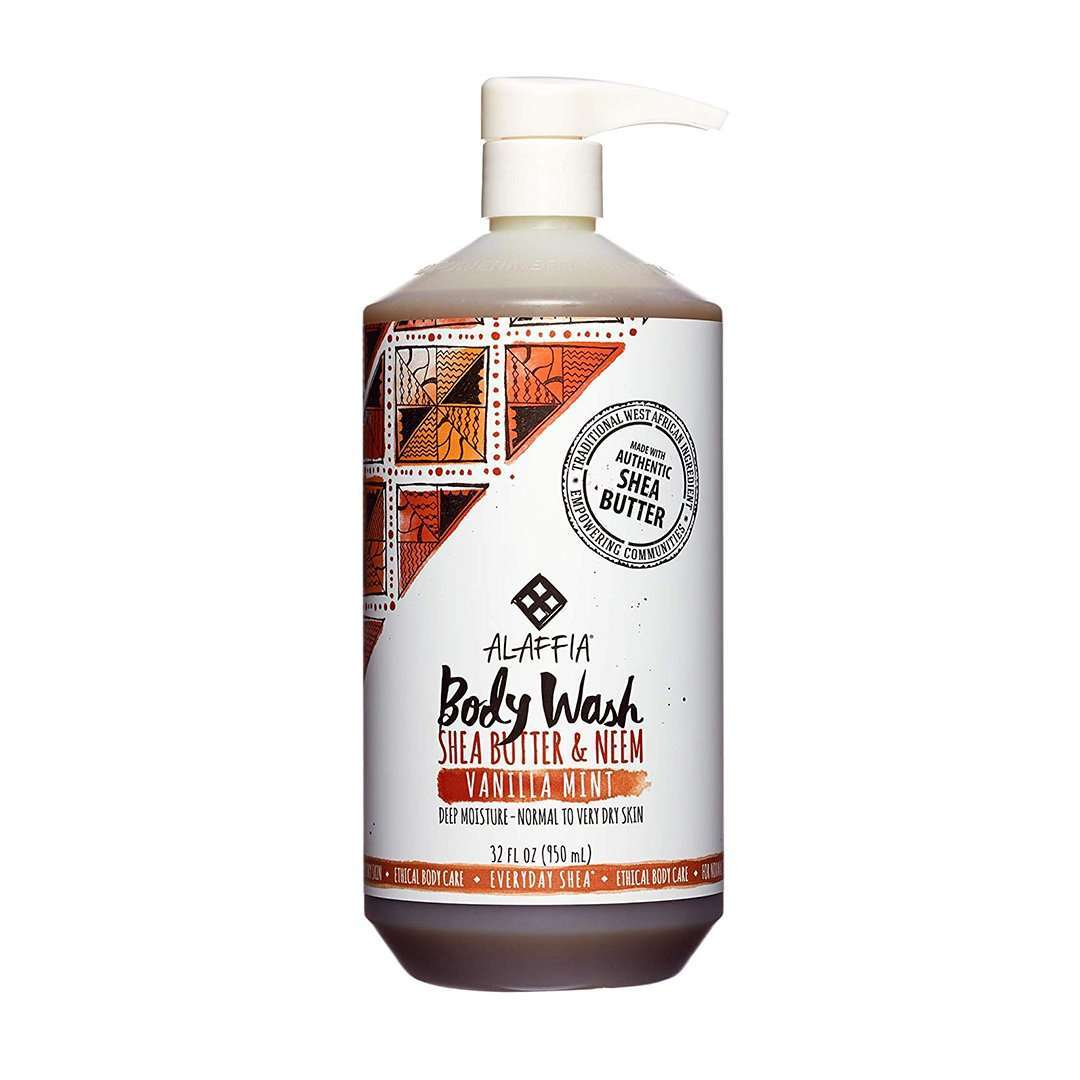 Alaffia - Everyday Shea, Moisturizing Body Wash - Vanilla Mint - 32 fl oz (950 ml) - AM VITAMINS
