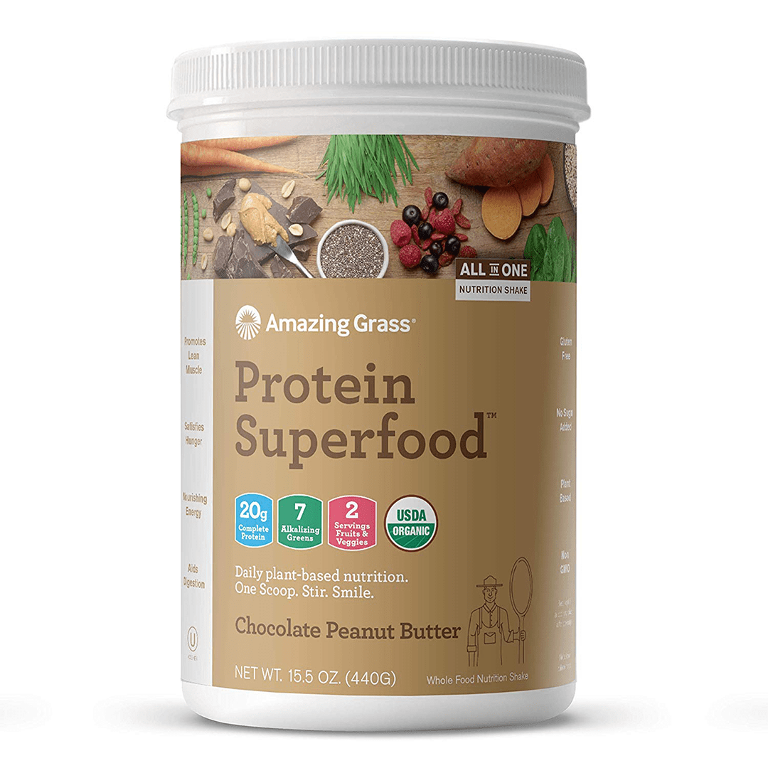 Amazing Grass - Protein Superfood Chocolate Peanut Butter - 10 Servings - 15.1 oz (430 g) - AM VITAMINS