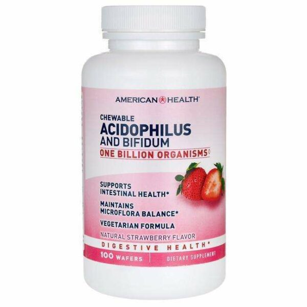 American Health - Chewable Acidophilus and Bifidum, Natural Strawberry Flavor - 100 Wafers - AM VITAMINS