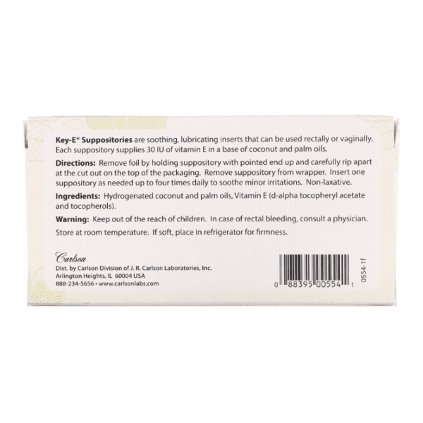Carlson Labs - Key-E Suppositories - 24 Soothing Inserts - AM VITAMINS
