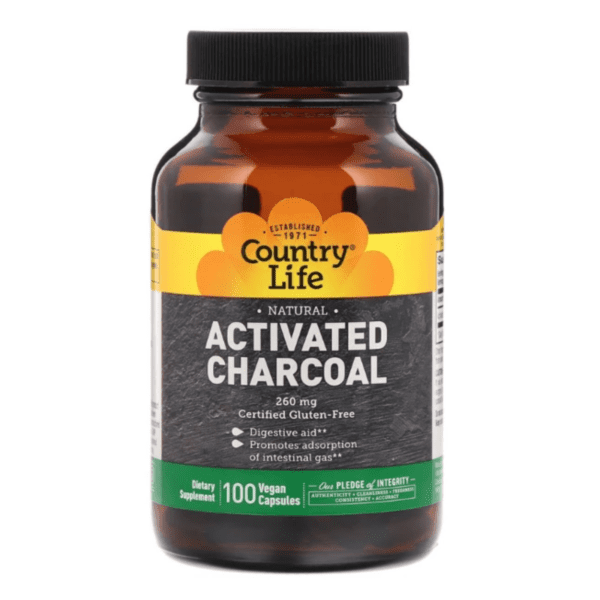 Country Life - Activated Charcoal, 260 mg - 100 Vegan Capsules - AM VITAMINS