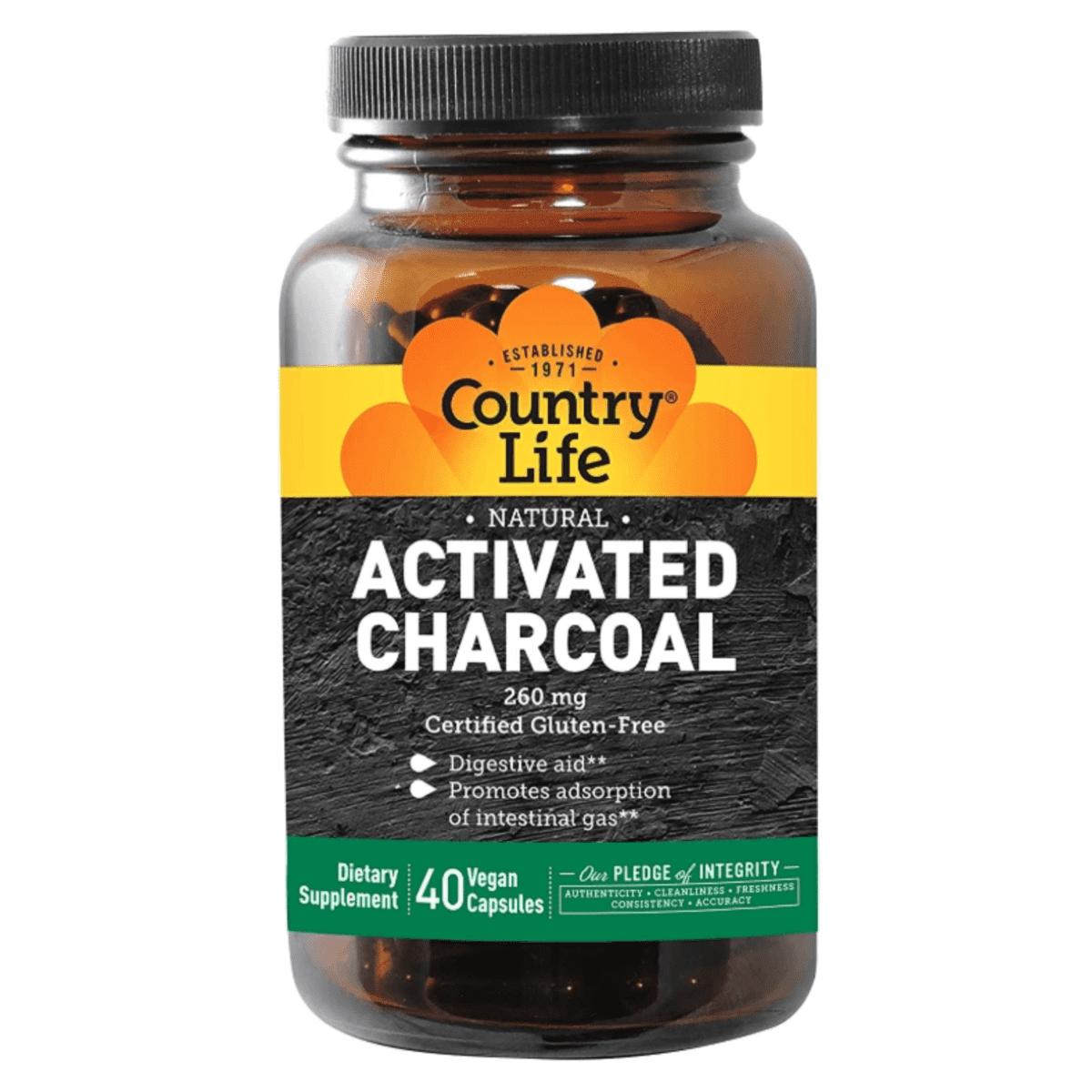 Country Life - Activated Charcoal, 260 mg - 40 Vegan Capsules - AM VITAMINS