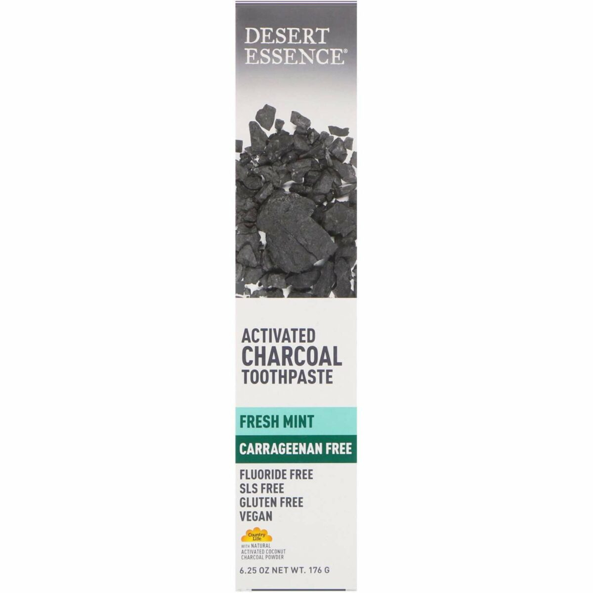Desert Essence - Activated Charcoal Toothpaste, Fresh Mint - 6.25 oz (176 g) - AM VITAMINS