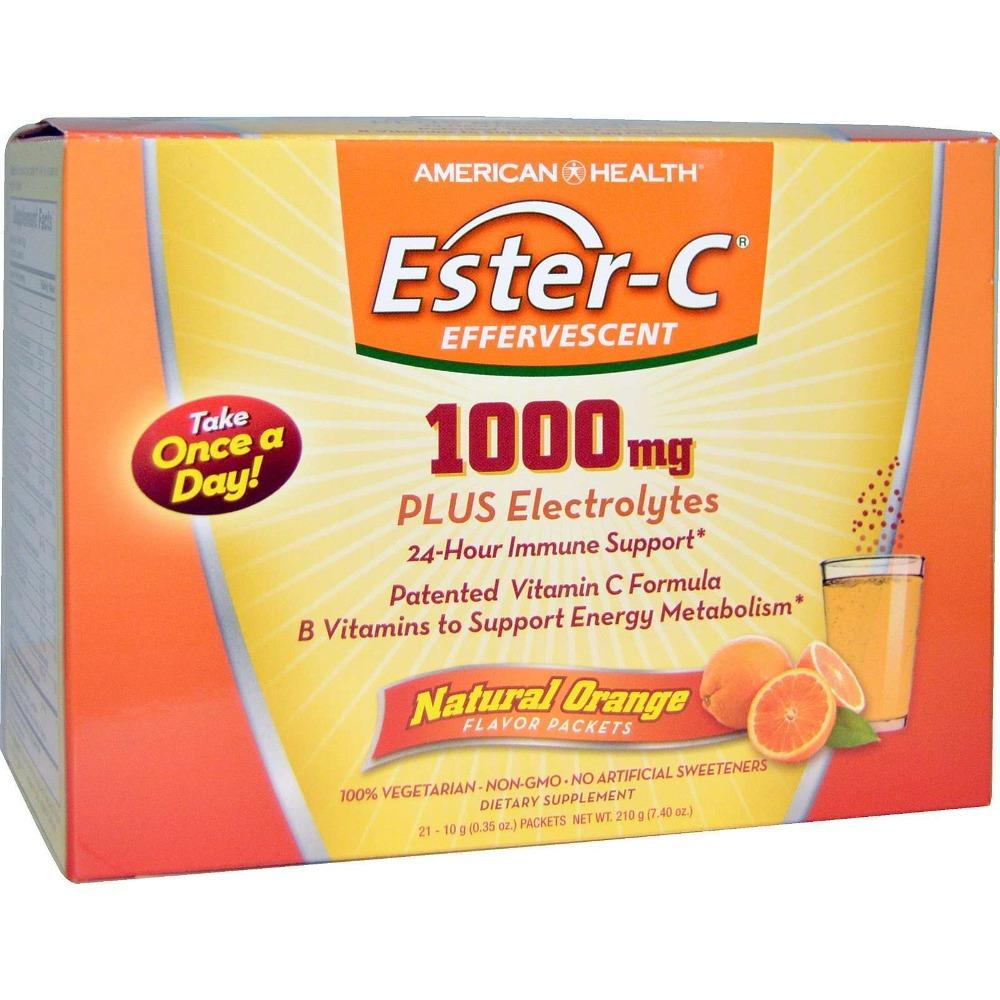Ester-C - Effervescent, 1000 mg with Electrolytes - 21 Packets - AM VITAMINS