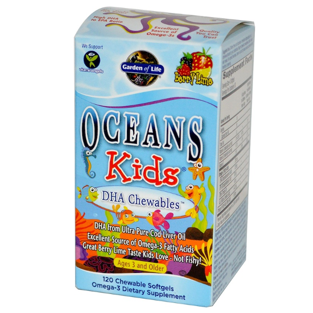 Garden of Life - Oceans Kids - DHA Chewables, Age 3 And Older, Berry Lime - 120 Chewable Softgels - AM VITAMINS