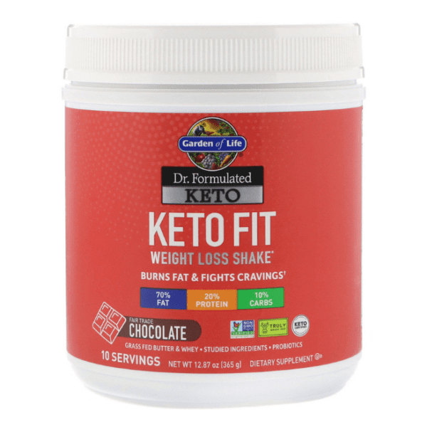 Garden of Life - Dr. Formulated Keto Fit Weight Loss Shake, Chocolate - 12.87 oz (365 g) - AM VITAMINS