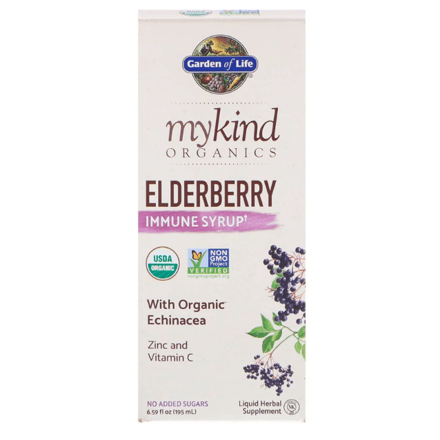 Garden of Life - MyKind Organics, Elderberry Immune Syrup - 6.59 fl oz (195 ml) - AM VITAMINS