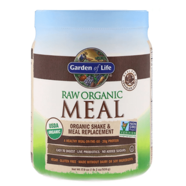 Garden of Life - RAW Organic Meal, Organic Shake & Meal Replacement, Chocolate Cacao - 1.1 lbs (509 g) - AM VITAMINS