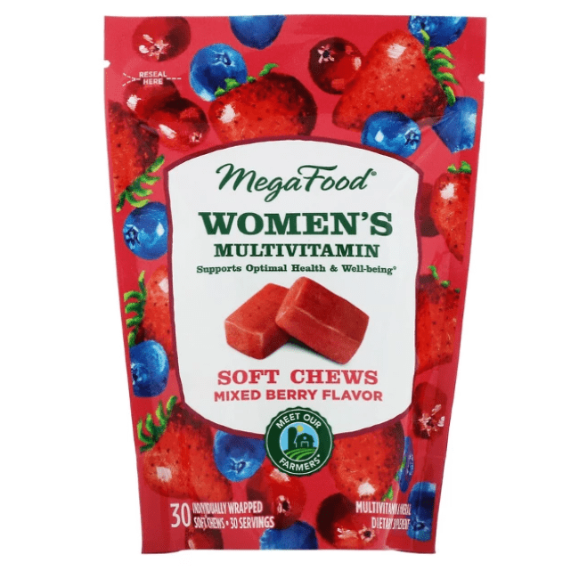 MegaFood - Women's Multivitamin Soft Chews, Mixed Berry Flavor - 30 Individually Wrapped Soft Chews - AM VITAMINS